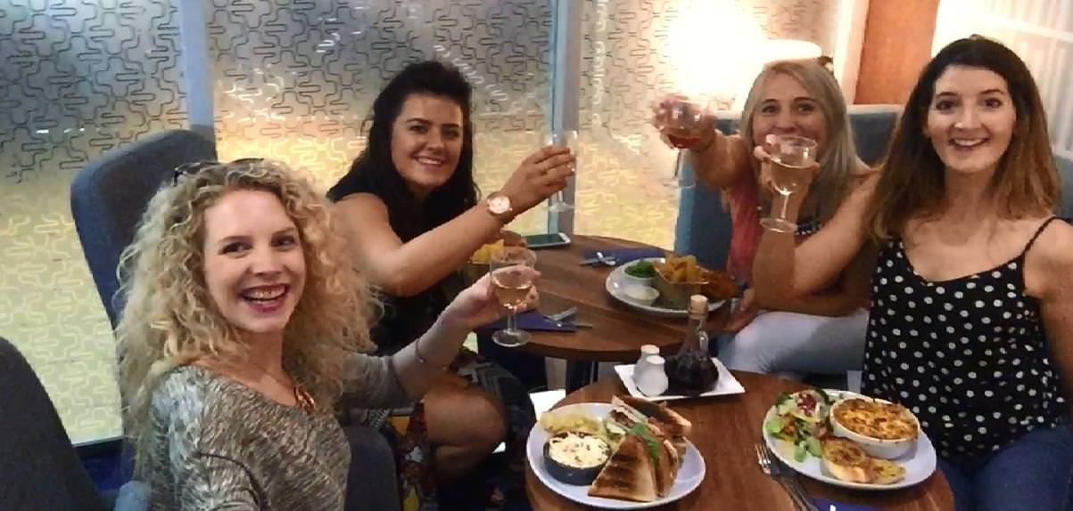 The girls from Ardmore Advertising enjoying lunch in the Stena Plus Lounge onboard the Stena Lagan